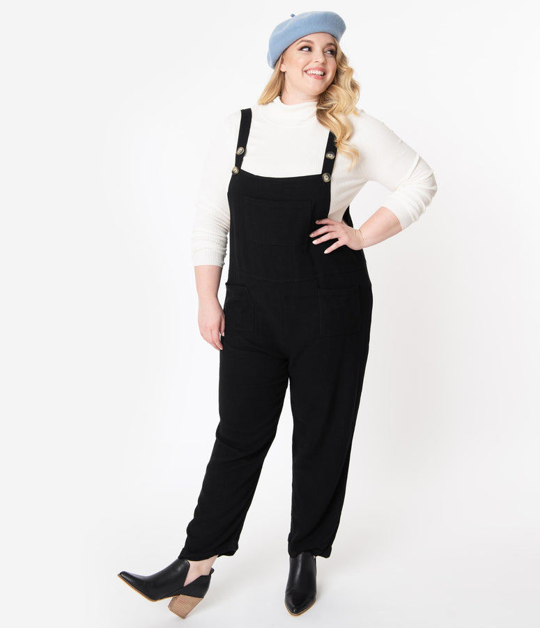 Plus Size Black Linen Overalls