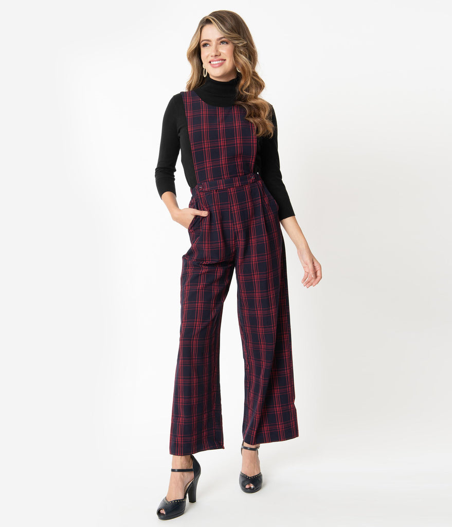 1960s Style Navy & Red Plaid Overall Jumpsuit