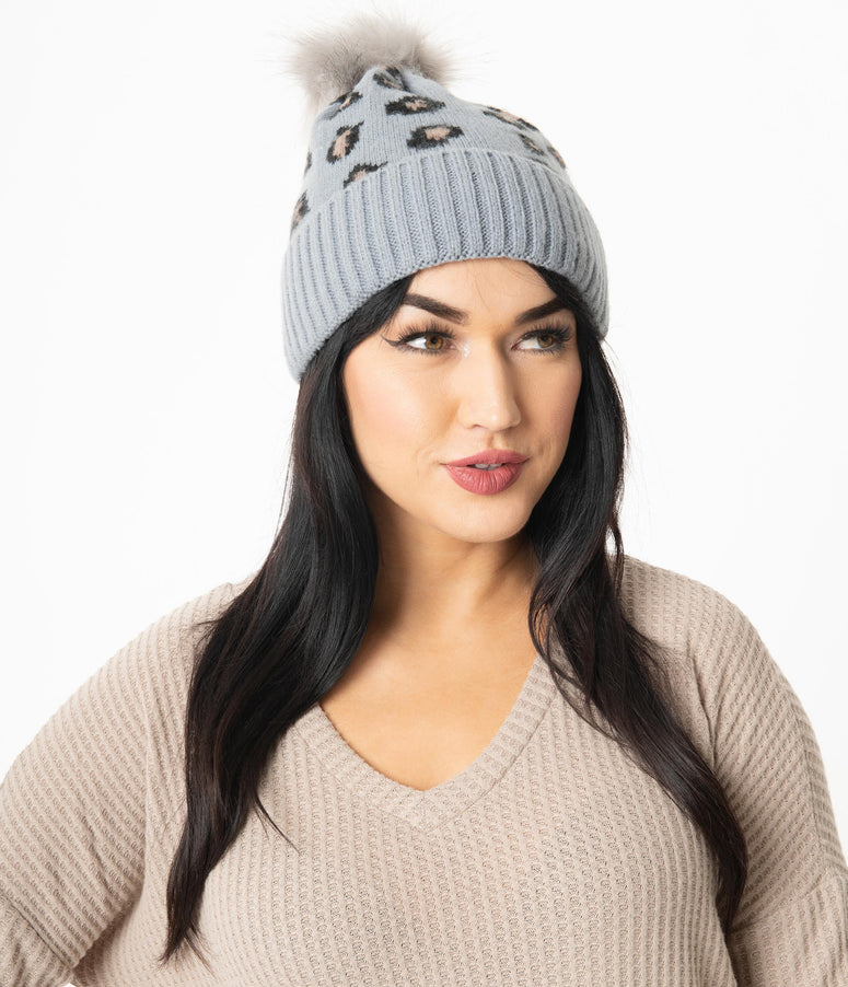 Grey & Brown Leopard Pom Pom Beanie