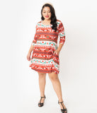 Plus Size Red & White Reindeer Stripe Pattern Skater Dress