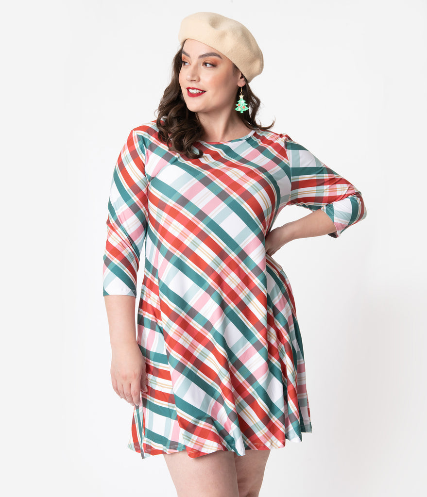 Plus Size Red & Green Christmas Gift Plaid Skater Dress
