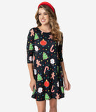 Black & Multicolor Christmas Cookie Print Skater Dress
