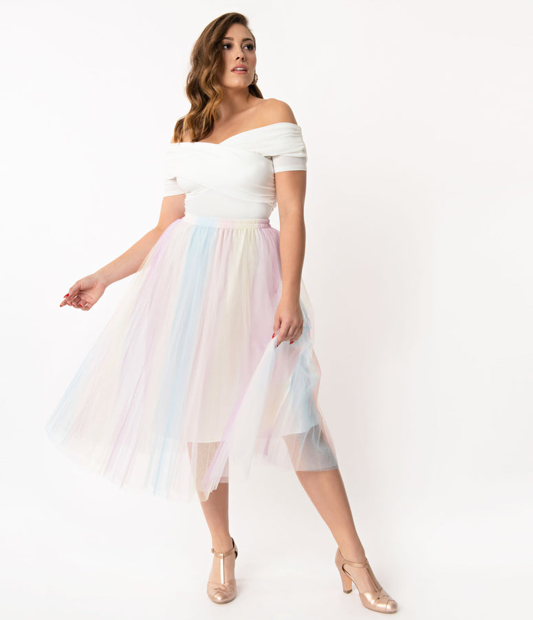 Pastel Multicolored Tulle Skirt
