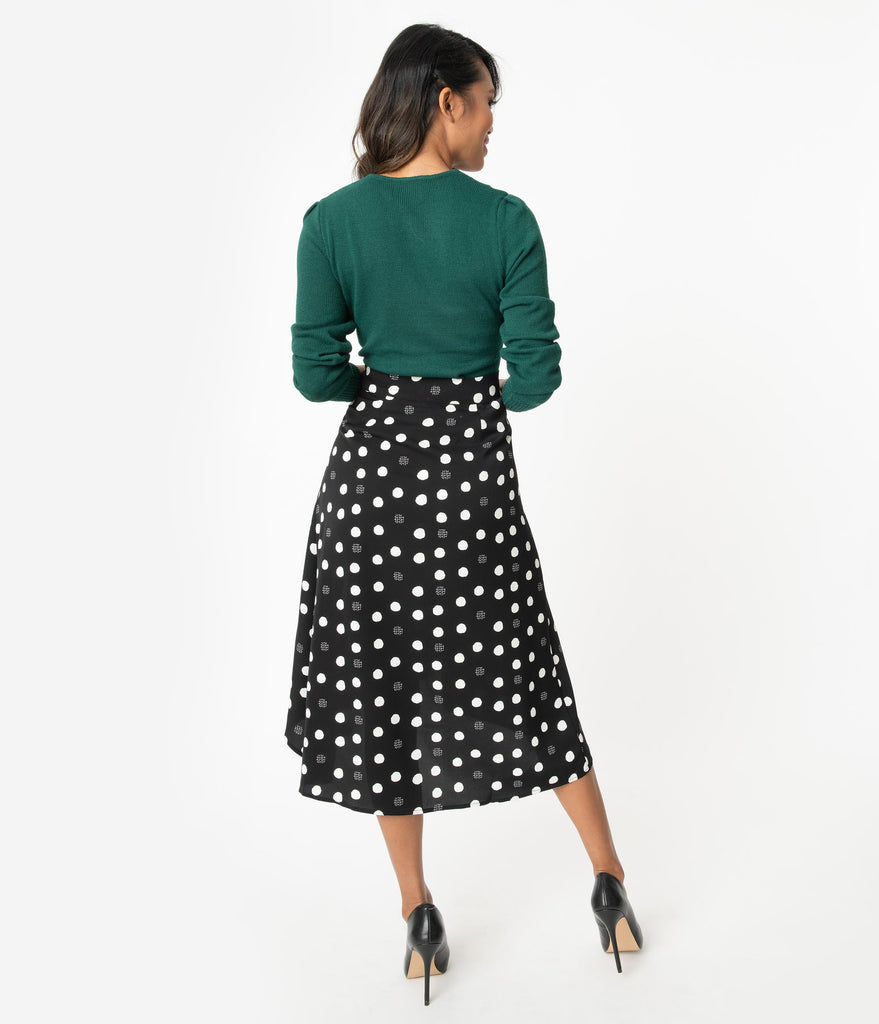 1950s Style Black & White Polka Dot High-low Swing Skirt