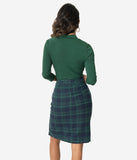 Green Plaid High Waist Knee Length Skirt
