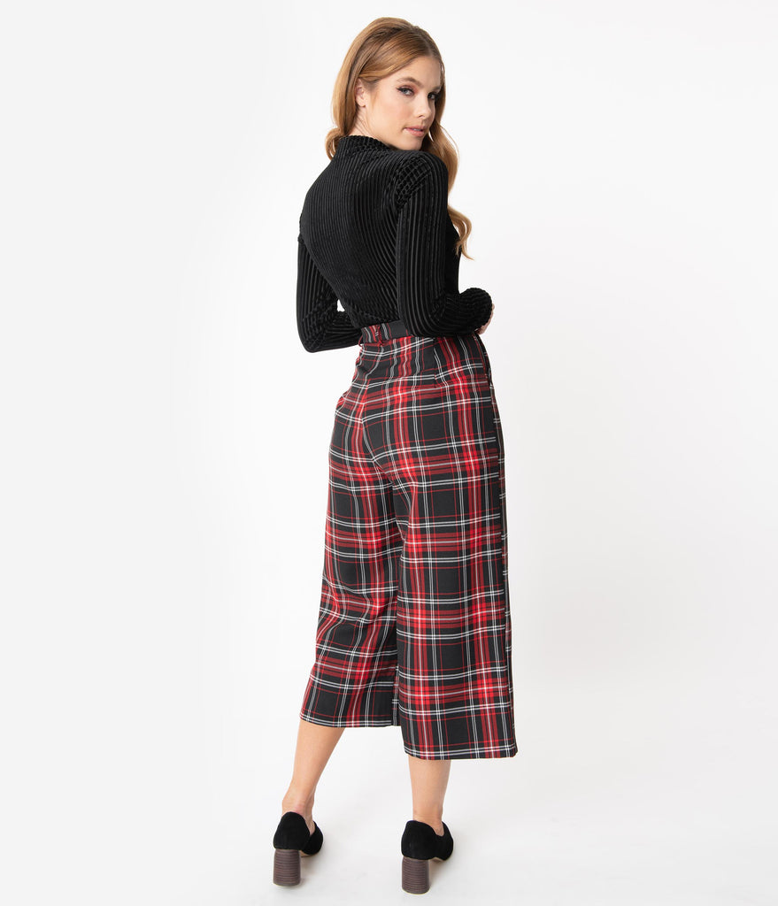 Hell Bunny 1950s Style Red & Black Plaid Riot Culottes