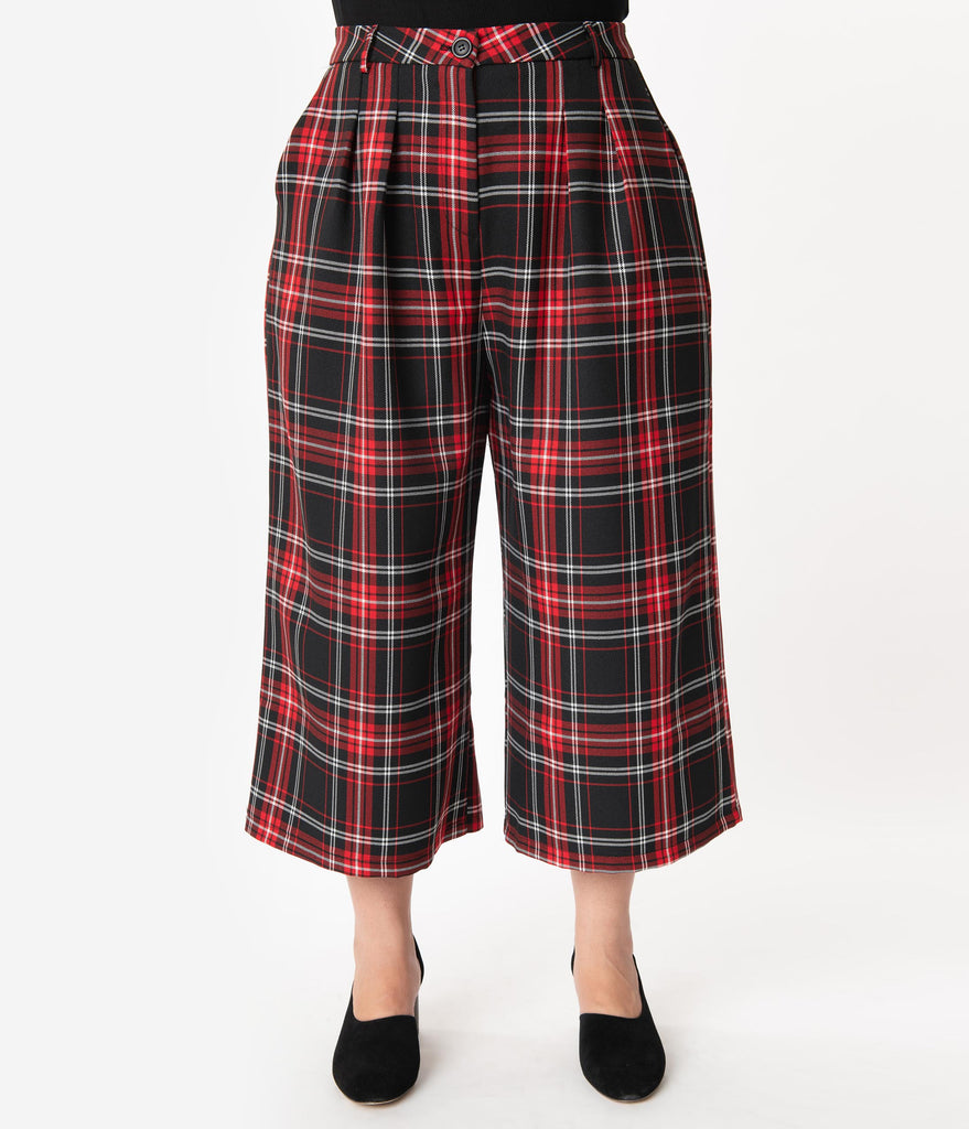 Hell Bunny Plus Size 1950s Style Red & Black Plaid Riot Culottes