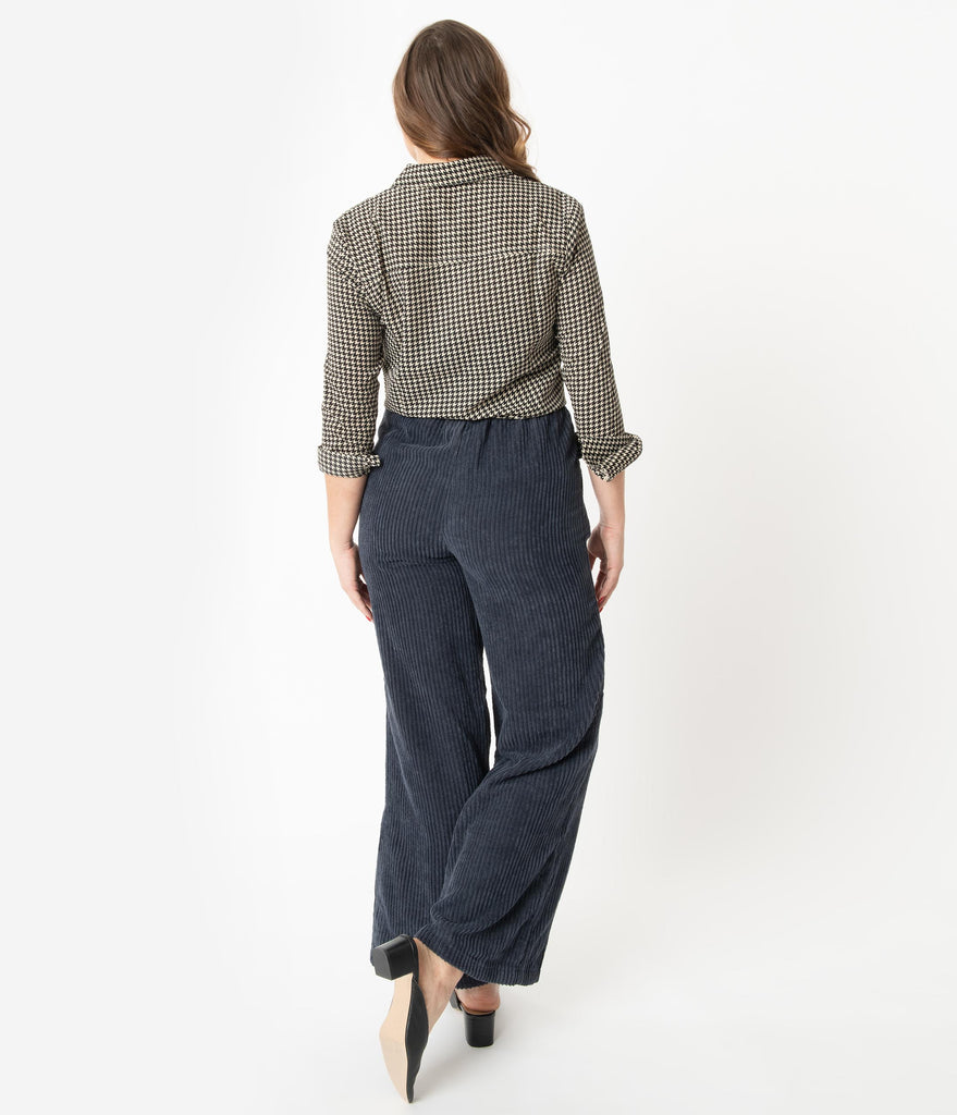 Navy Corduroy High Waist Wide Leg Pants
