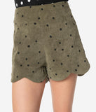 Retro Style Olive Green & Black Polka Dot Scalloped Corduroy Shorts
