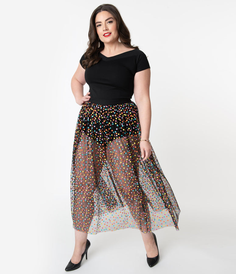 Plus Size Black Mesh & Multicolor Polka Dot Long Skirt