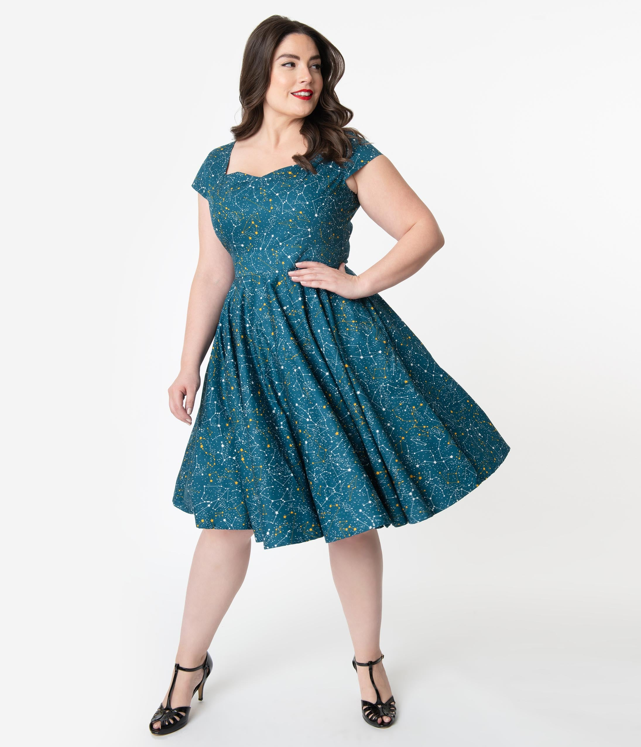 1950s Style Teal Galaxy Print Cap Sleeve Hanna Swing Dress ...