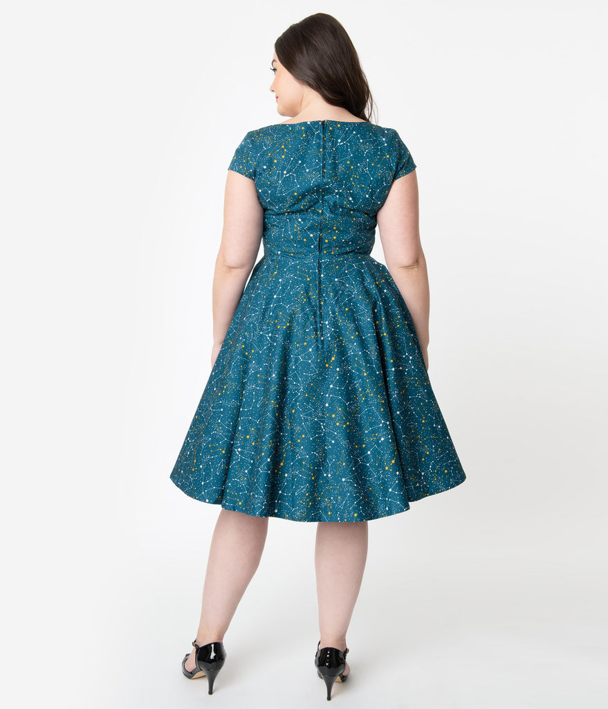 Plus Size 1950s Style Teal Galaxy Print Cap Sleeve Hanna Swing Dress