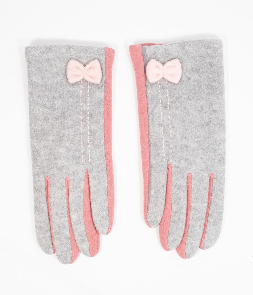 Vintage Style Grey & Pink Bow Two Tone Gloves