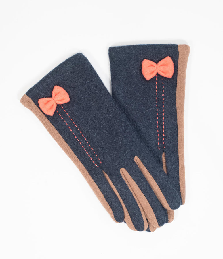 Vintage Style Navy & Tan Bow Two Tone Gloves