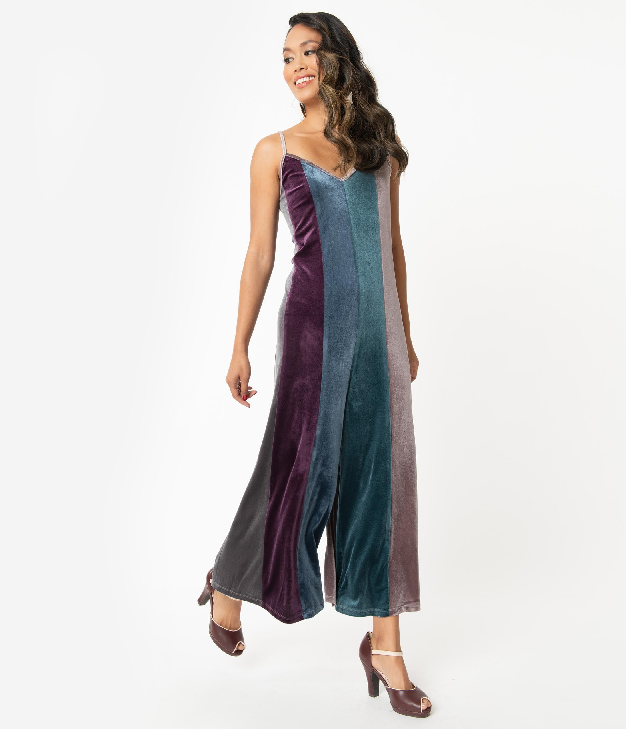 70s Jumpsuit | Disco Jumpsuits – Sequin, Striped, Gold, White, Black Retro Style Multicolor Velvet Wide Leg Jumpsuit $62.00 AT vintagedancer.com