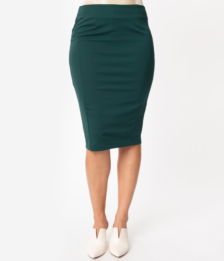 Emerald Green High Waist Wiggle Skirt