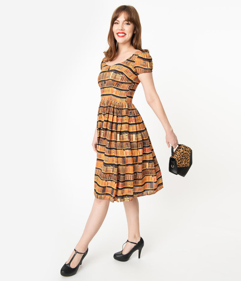 Bernie Dexter Book Shelf Print Florence Swing Dress