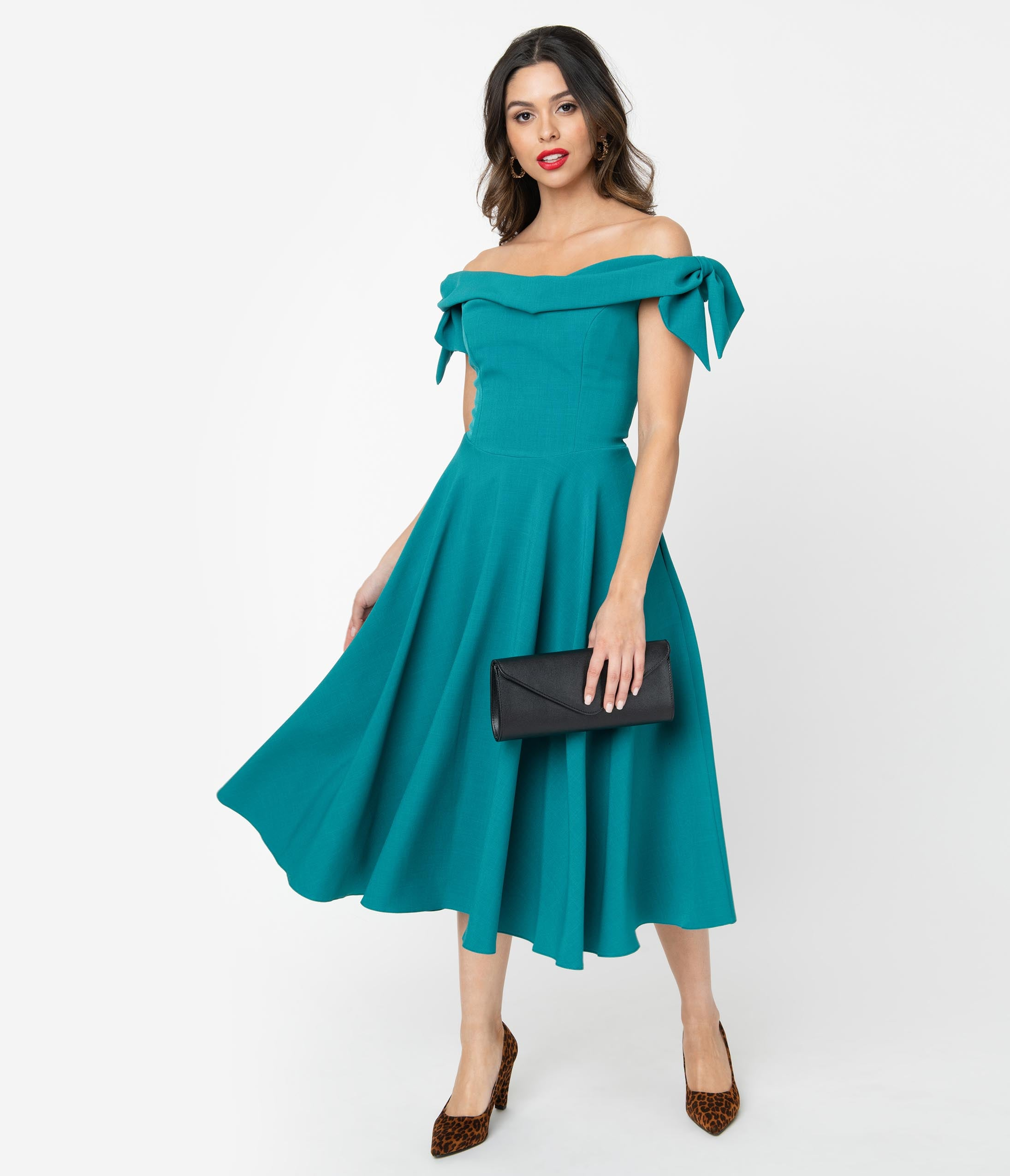 1950s Party Dresses & Prom Dresses for Sale The Pretty Dress Company Teal Off The Shoulder Tilly Swing Dress $198.00 AT vintagedancer.com