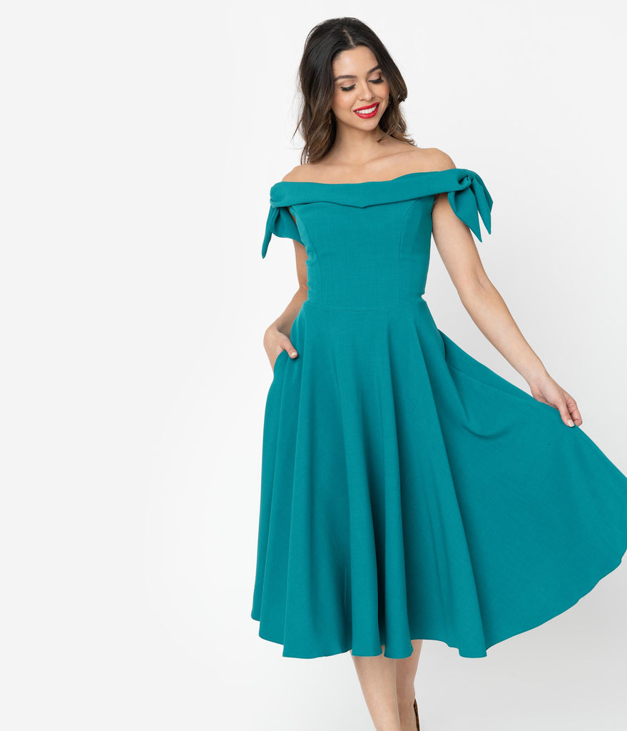 The Pretty Dress Company Teal Off the Shoulder Tilly Swing Dress