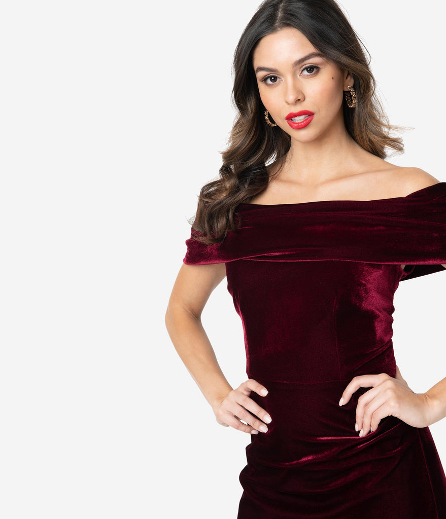 The Pretty Dress Company Bordeaux Velvet Off Shoulder Dani Wiggle Dress