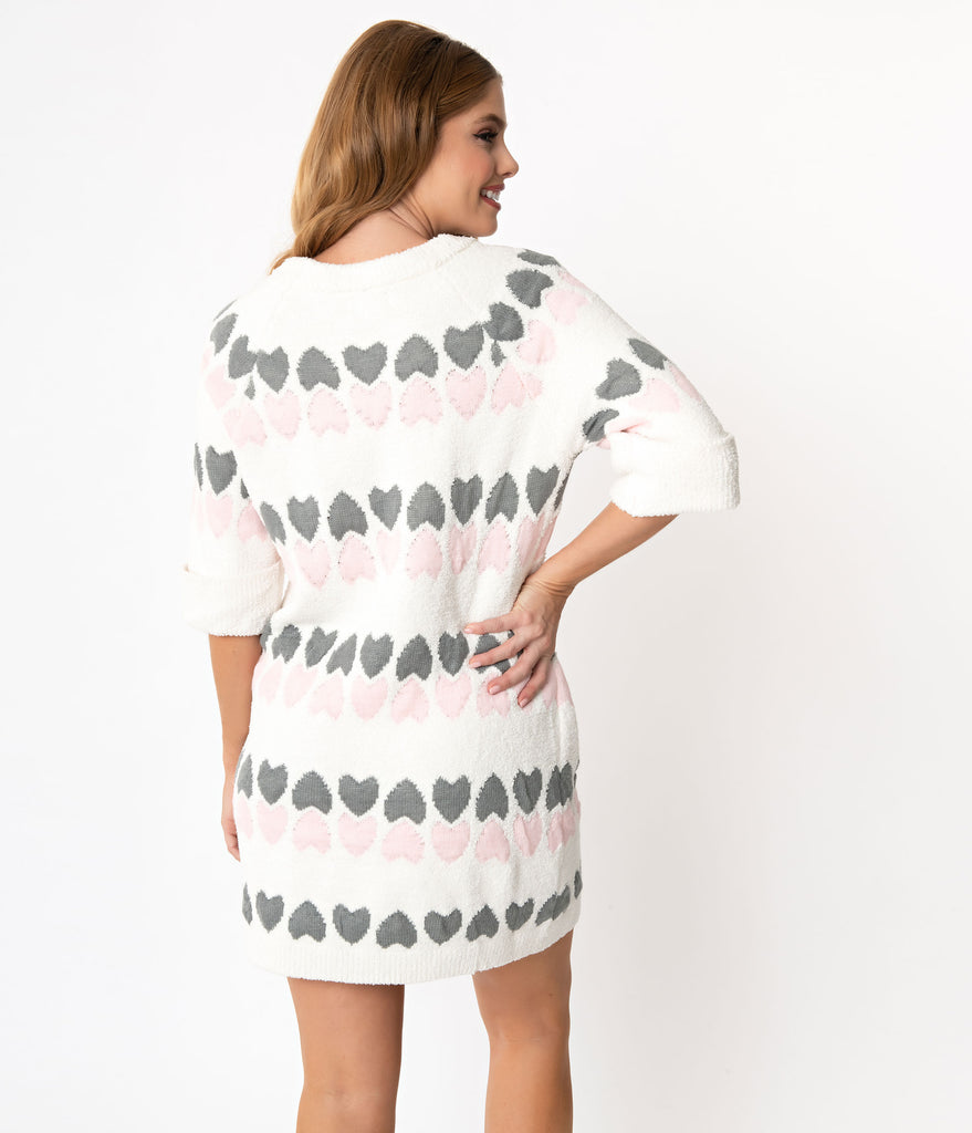 Ivory Knit Pink & Grey Hearts Sweater Dress