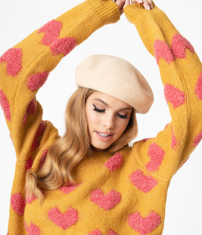Mustard & Pink Fuzzy Hearts Knit Crop Sweater