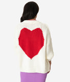 Cream & Red Heart Knit Open Cardigan