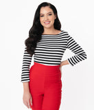 Unique Vintage Black & White Stripe Three-Quarter Sleeve Gracie Top