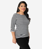 Unique Vintage Plus Size Black & White Stripe Three-Quarter Sleeve Gracie Top