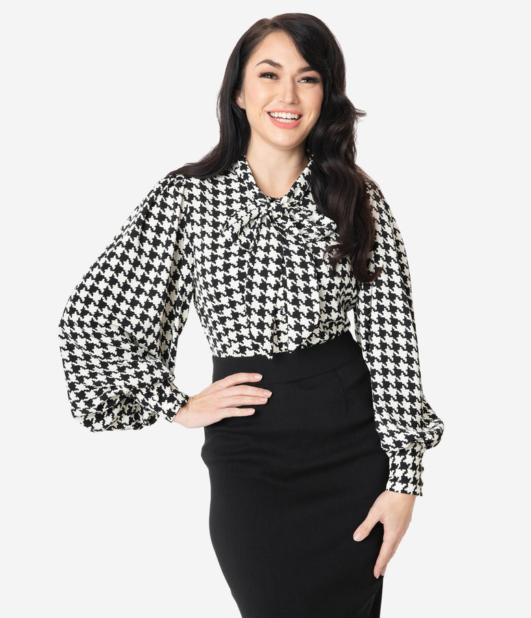 Unique Vintage Black & White Houndstooth Print Gwen Blouse