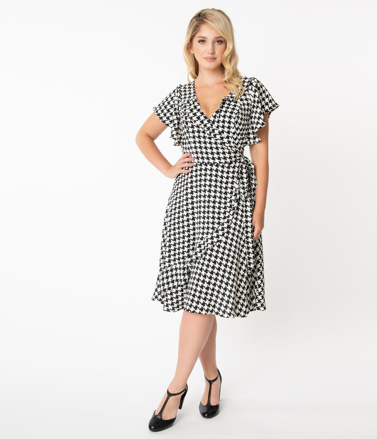 Unique Vintage 1960s Black & White Houndstooth Print Luella Wrap Dress