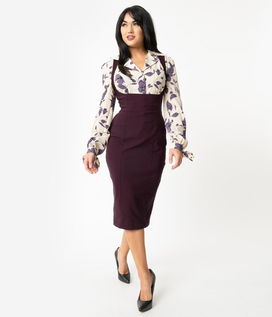 Unique Vintage Eggplant Fontaine Suspender Pencil Skirt