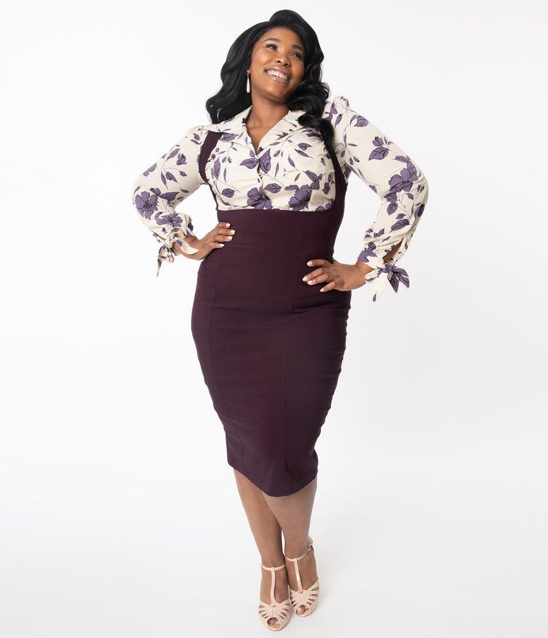 Unique Vintage Plus Size Eggplant Fontaine Suspender Pencil Skirt