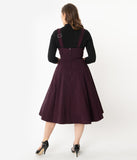 Unique Vintage 1950s Eggplant High Waisted Amma Suspender Swing Skirt