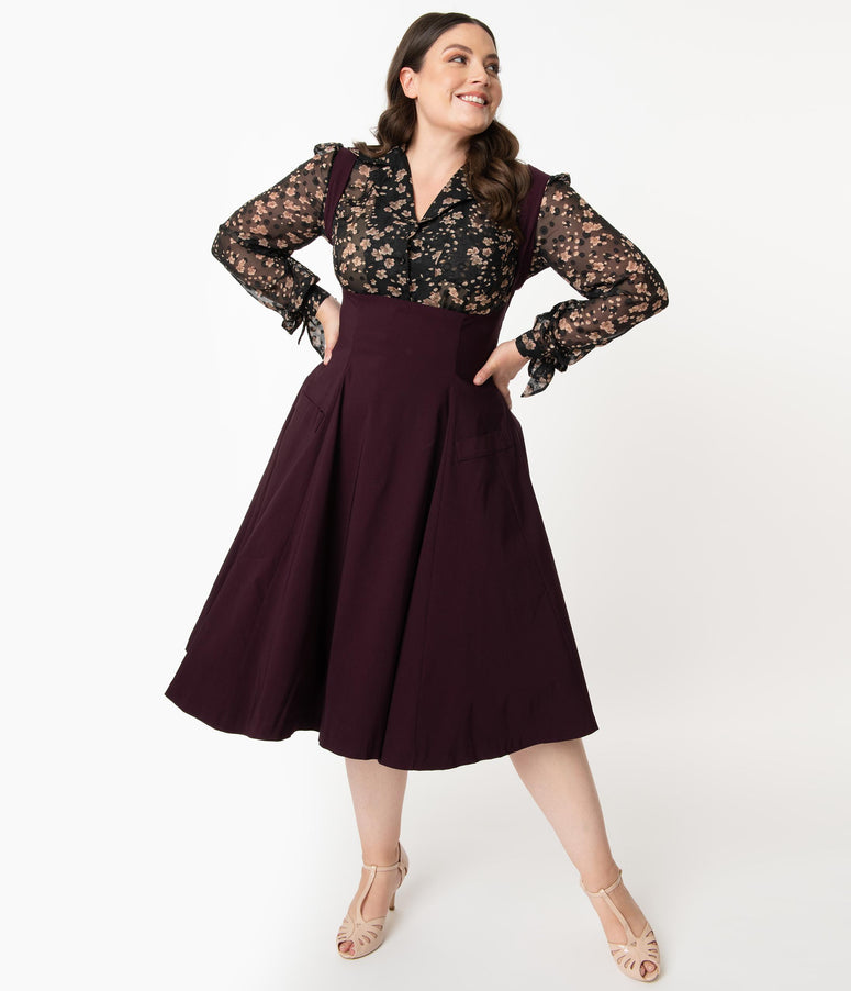 Unique Vintage Plus Size 1950s Eggplant Amma Suspender Swing Skirt