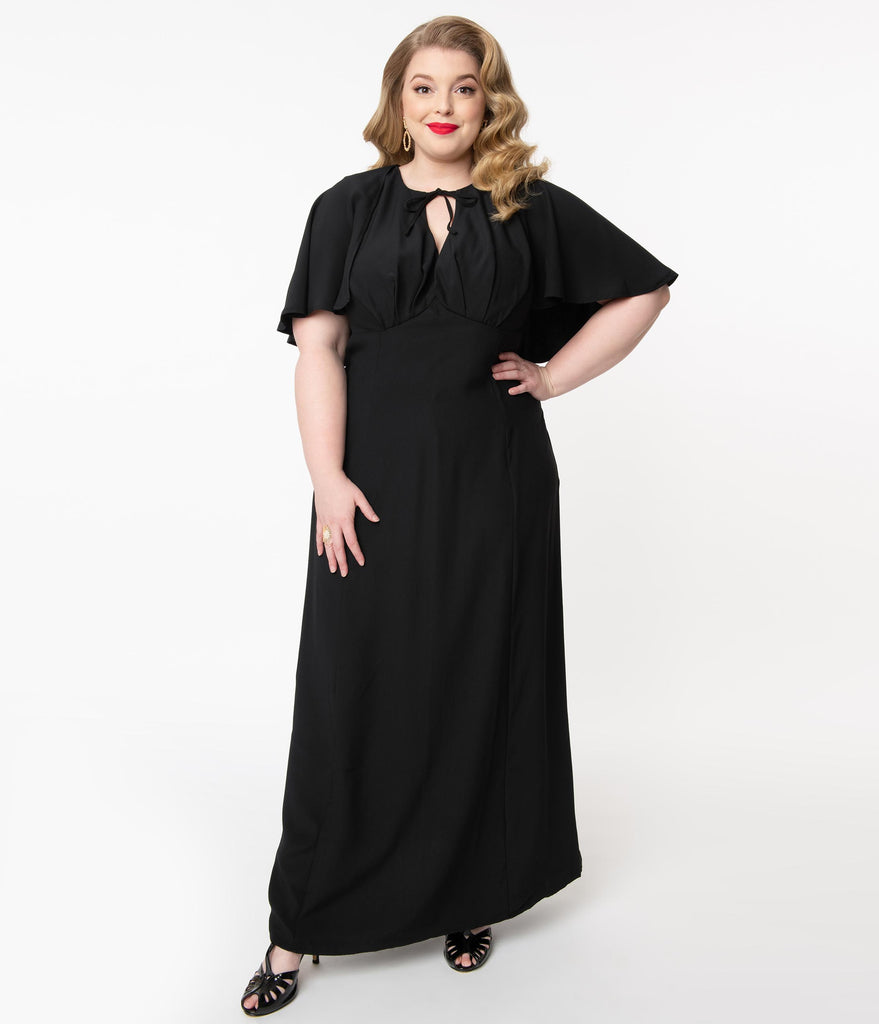 Unique Vintage Plus Size Black Addams Caplette Gown