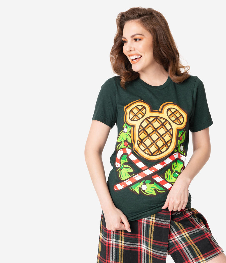 The Lost Bros Dark Green Christmas Waffle Unisex Shirt