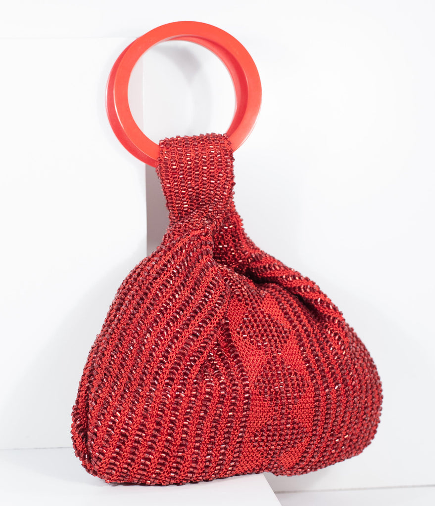 Deco Style Red Beaded Satchel Bag