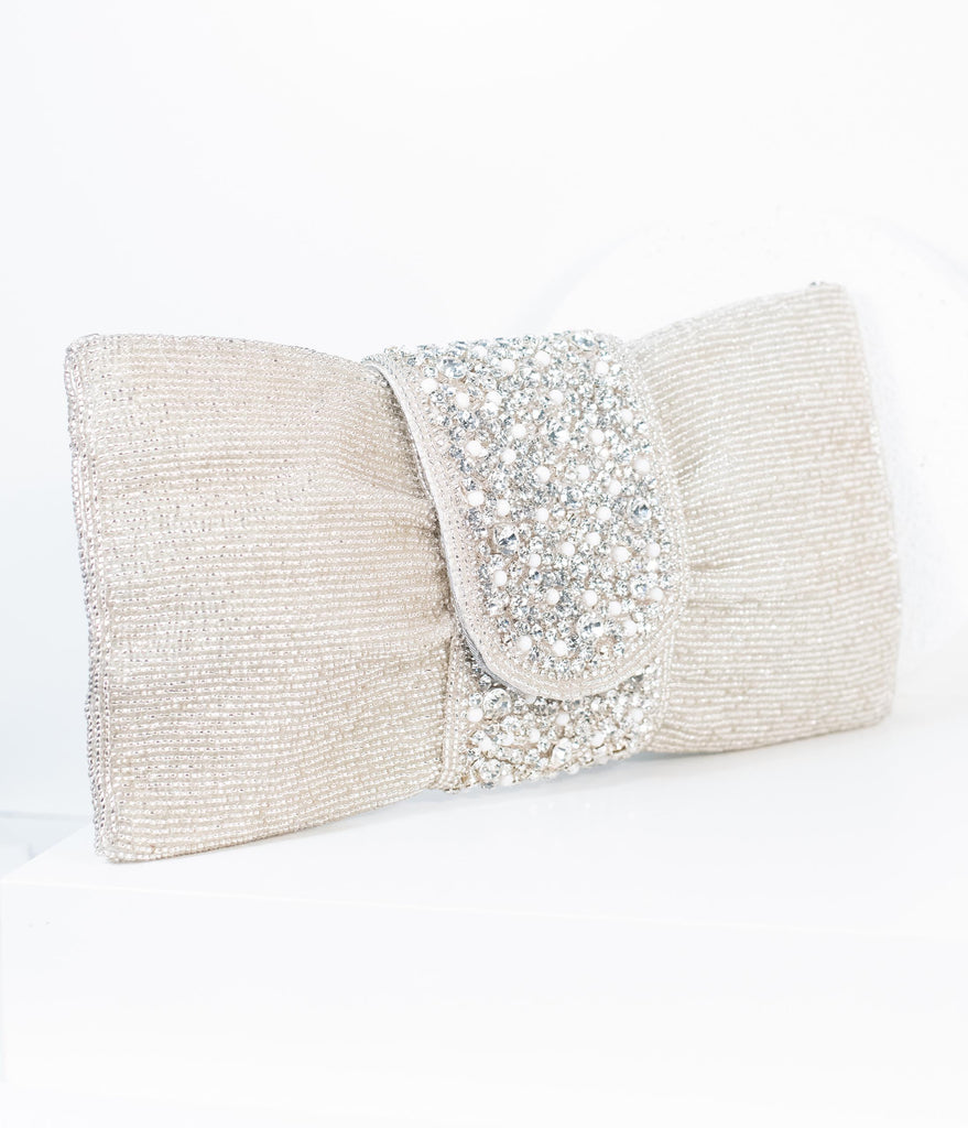 Vintage Style Ivory Beaded & Pearl Bow Clutch