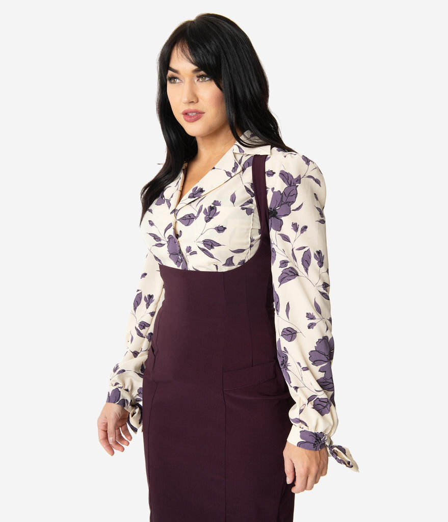 Unique Vintage 1950s Style Ivory & Purple Florals Izzy Blouse