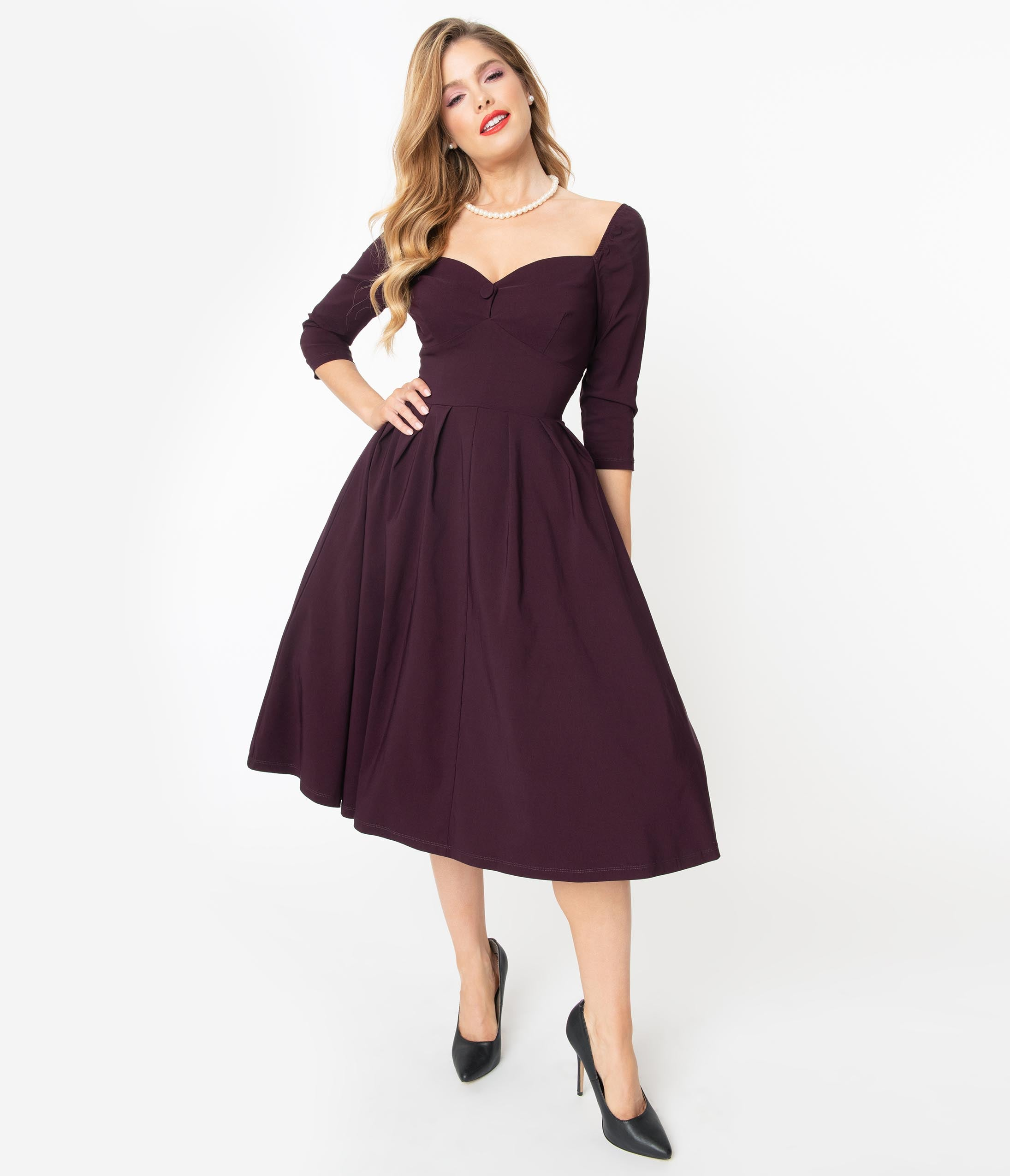 Vintage Style Dresses | Vintage Inspired Dresses Unique Vintage 1950S Style Eggplant Sweetheart Lamar Swing Dress $98.00 AT vintagedancer.com