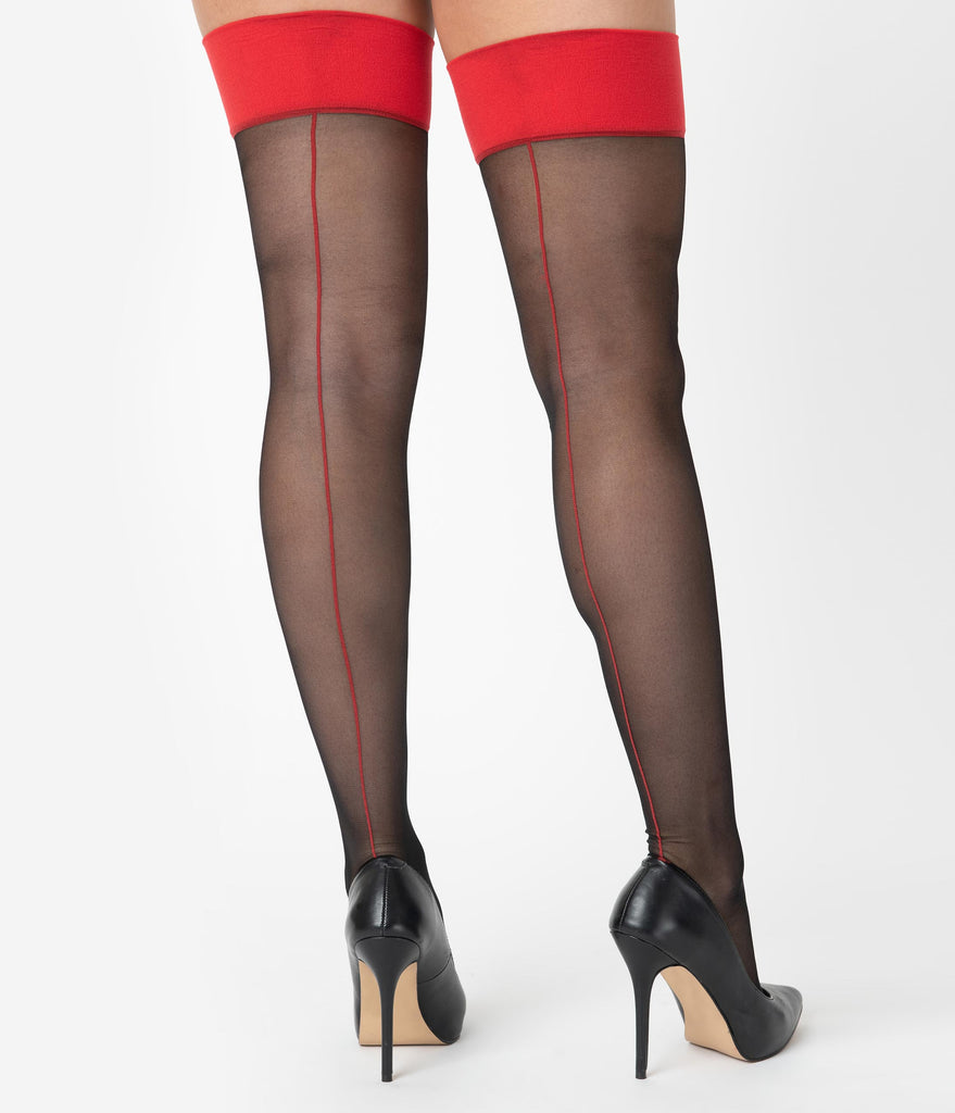 What Katie Did Black & Red Glamour Seamed Stockings