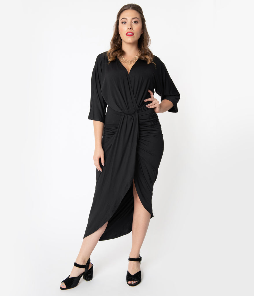 Retro Style Black Ruched Wrap Front Dress
