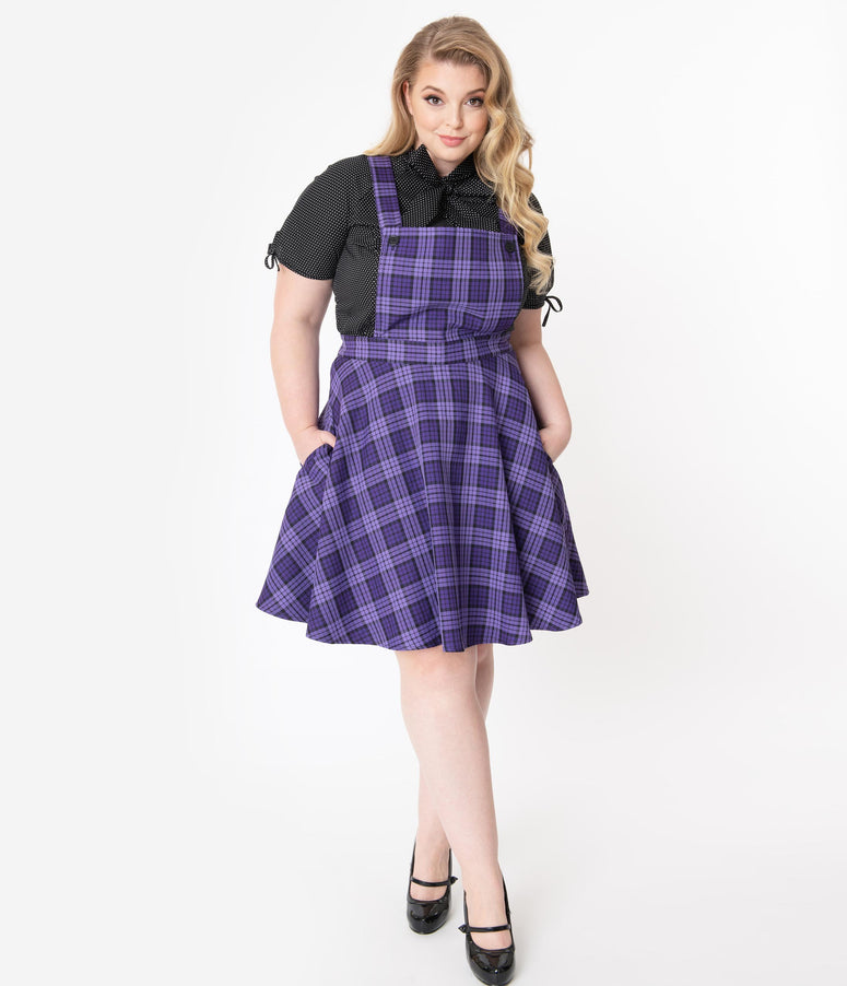 Hell Bunny Plus Size Purple Plaid Karine Pinafore Dress