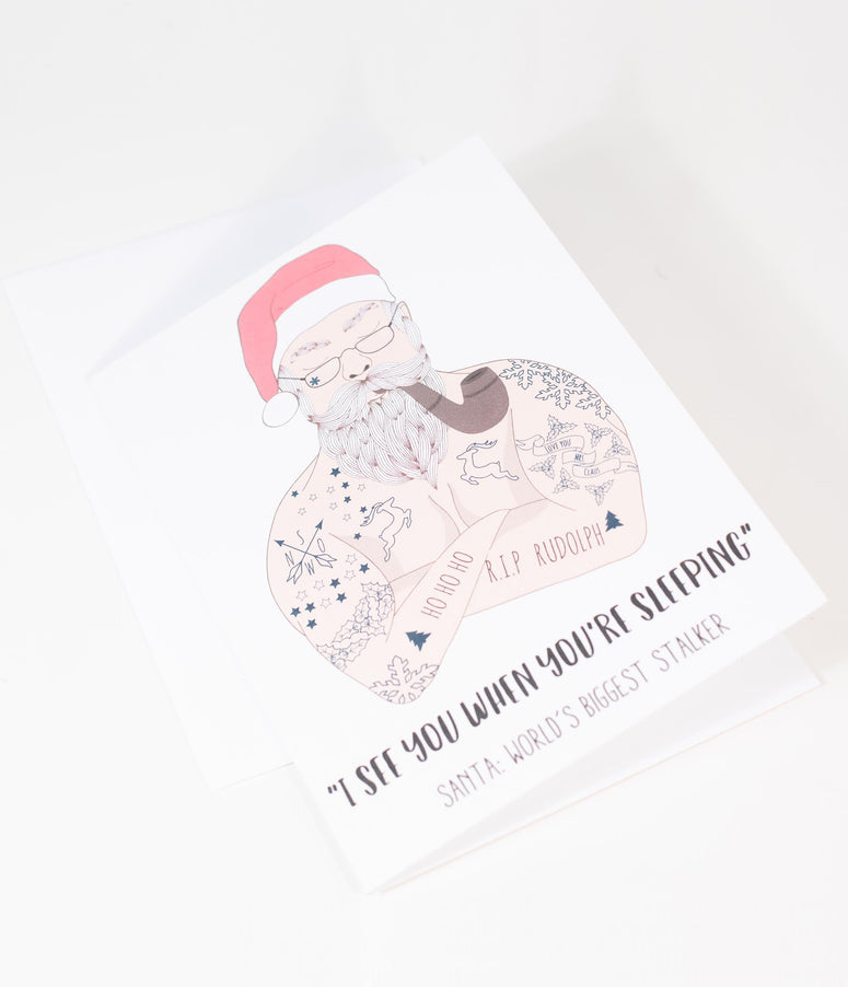 Santa Stalker Christmas Greeting Card