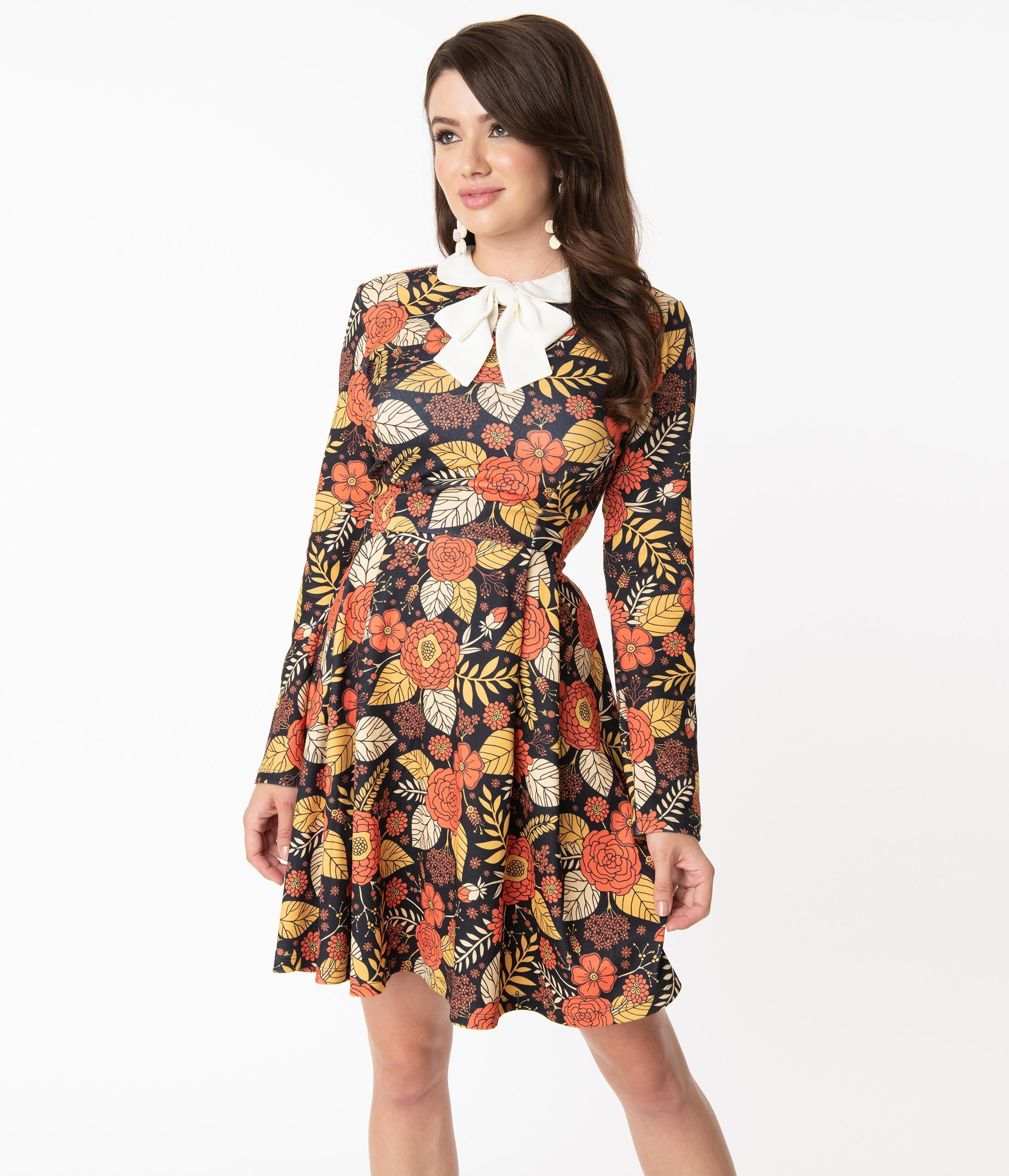 Vintage Style Dresses | Vintage Inspired Dresses Smak Parlour Orange Autumn Floral Jet Setter Fit  Flare Dress $68.00 AT vintagedancer.com