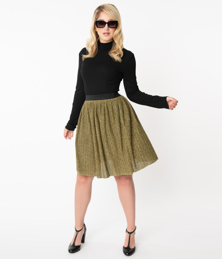 Smak Parlour Golden Sparkle Day Tripper Flare Skirt