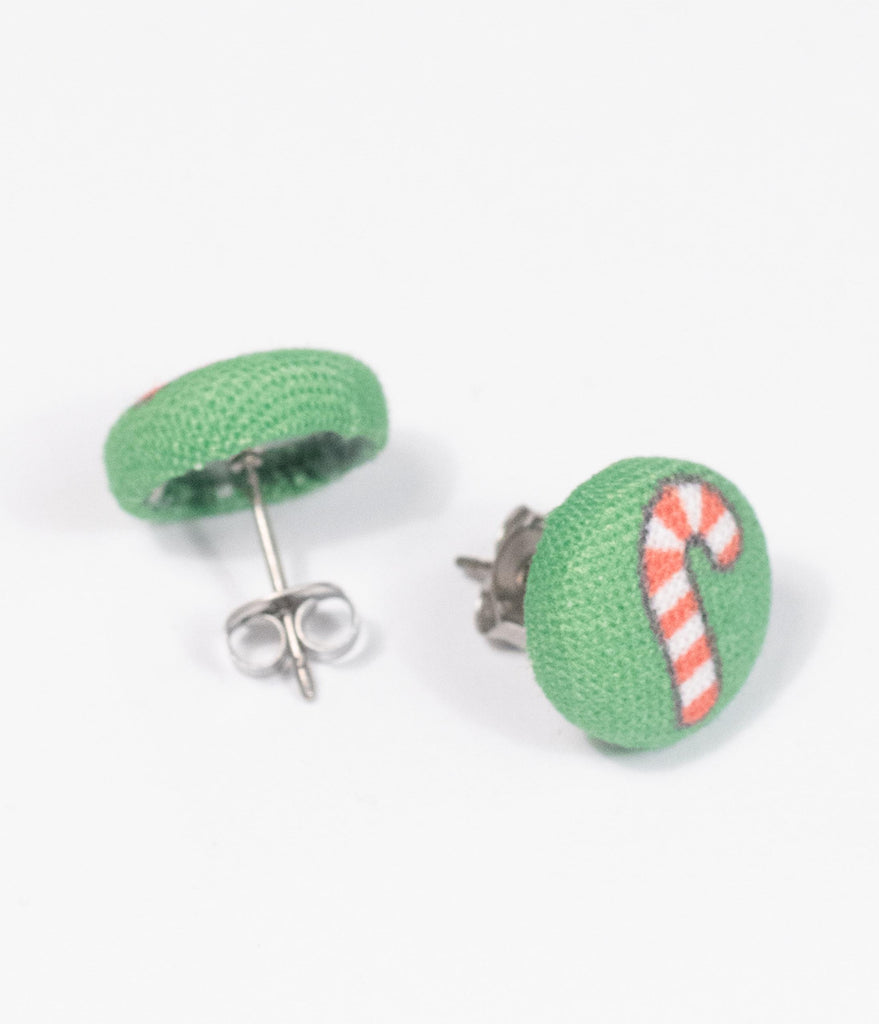 Candy Cane Button Earrings