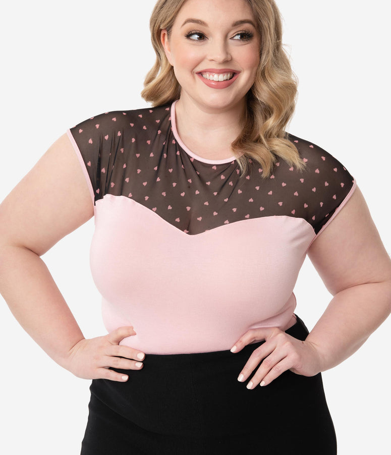 Steady Plus Size Retro Light Pink Hearts Mesh Knit Top