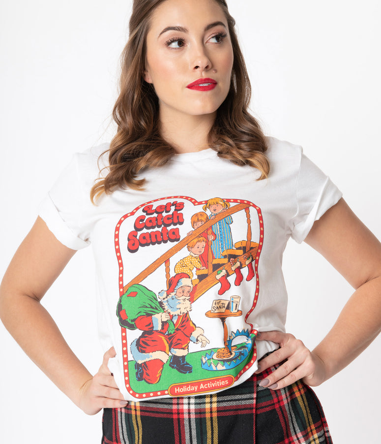 White Lets Catch Santa Unisex Graphic Tee